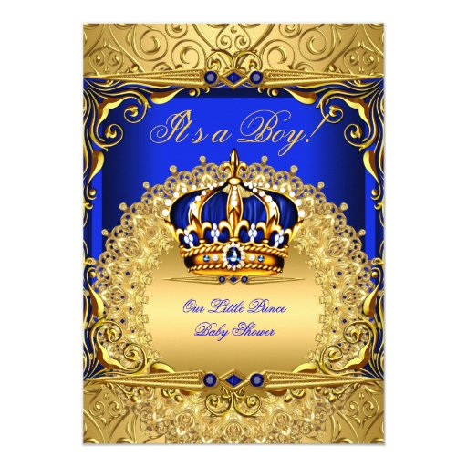 royal blue damask gold crown baby shower boy bs6 5x7 paper invitation