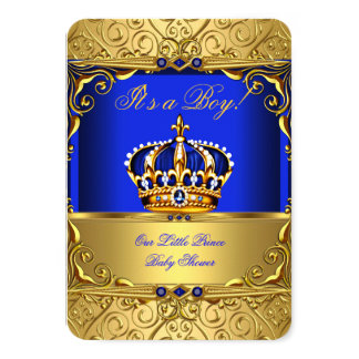 Royal Blue Damask Gold Crown Baby Shower Boy bsA 3.5x5 Paper Invitation Card