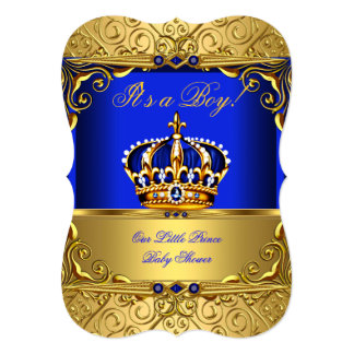 Royal Blue Damask Gold Crown Baby Shower Boy bsA 5x7 Paper Invitation Card