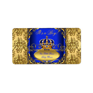 Royal Blue Damask Gold Crown Baby Shower Boy RB3 Label