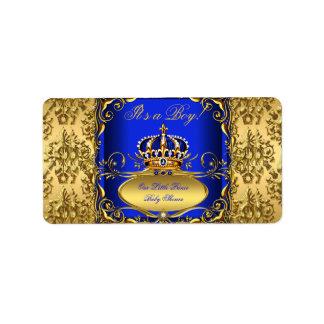 Royal Blue Damask Gold Crown Baby Shower Boy RB3 Address Label