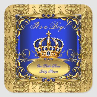 Royal Blue Damask Gold Crown Baby Shower Boy RB3
