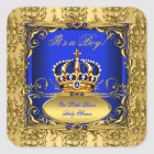 Royal Blue Damask Gold Crown Baby Shower Boy RB3 Square Sticker