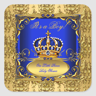 Royal Blue Damask Gold Crown Baby Shower Boy RB3 Square Sticker