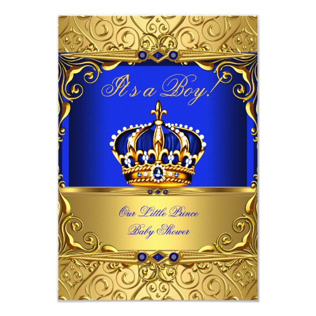 royal blue damask gold crown baby shower boy small 3 5x5 paper invitation card
