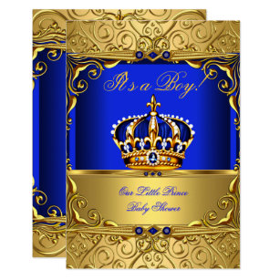 Crown invitations announcements zazzle royal blue damask gold crown baby shower boy small invitation stopboris Images