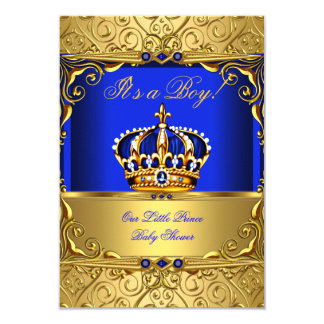 Royal Blue Damask Gold Crown Baby Shower Boy SMALL 3.5x5 Paper Invitation Card