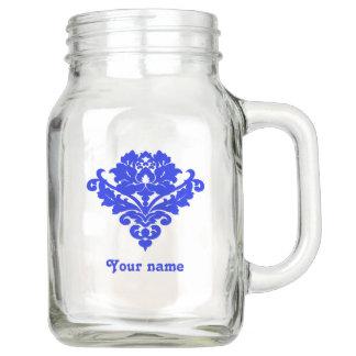 Royal blue damask mason jar