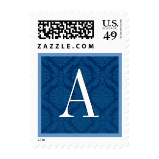 Royal Blue Damask Monogram Wedding Postage