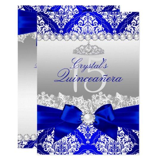 Royal Blue Damask Pearl Bow Quinceanera Invite Zazzlecom