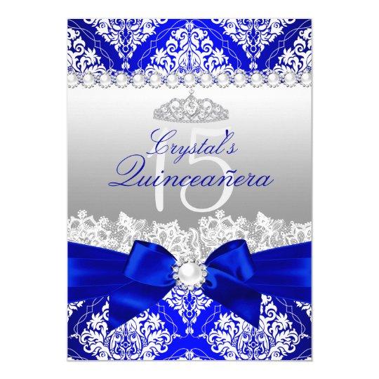 Royal Blue Damask Pearl Bow Quinceanera Invite | Zazzle.com