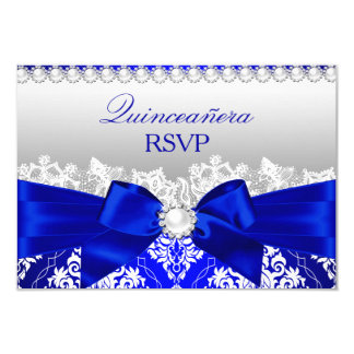Royal Blue Damask & Pearl Bow Quinceanera RSVP 3.5x5 Paper Invitation Card