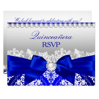 Royal Blue Damask & Pearl Bow Quinceanera RSVP Card
