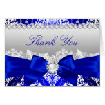 Royal Blue Damask & Pearl Bow Thank You Card