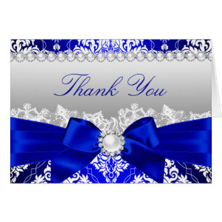 Royal Blue Damask & Pearl Bow Thank You Card