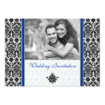 Royal Blue Damask Photo Wedding Invitation