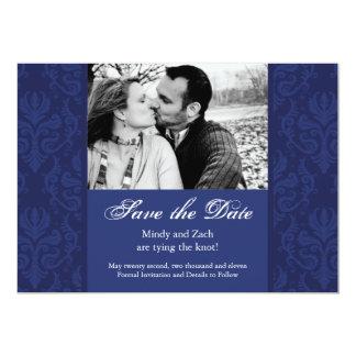 Royal Blue Damask Save the Date Photo invitation