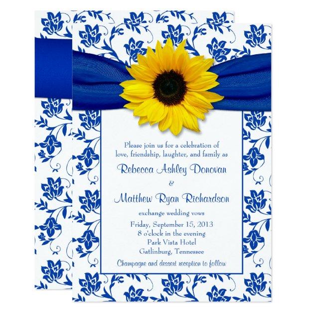 royal blue damask sunflower wedding invitation   zazzle, Wedding invitations