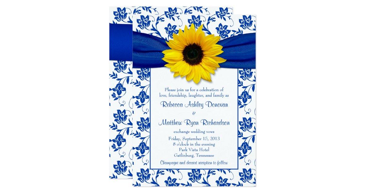 royal blue damask sunflower wedding invitation zazzle With royal blue and sunflower wedding invitations
