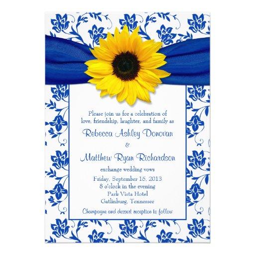 Royal Blue Damask Sunflower Wedding Invitation