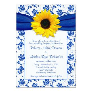 "Royal Blue Damask Sunflower Wedding Invitation 5"" X 7"" Invitation Card"