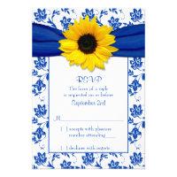 Royal Blue Damask Sunflower Wedding RSVP Card (<em>$1.85</em>)
