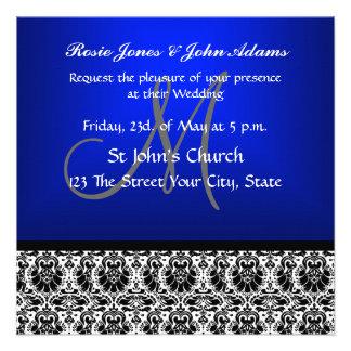 Royal Blue Damask Wedding Invitation Custom Invitation