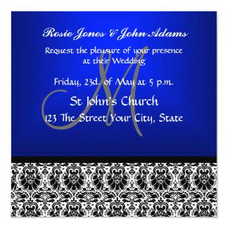"Royal Blue Damask Wedding Invitation 5.25"" Square Invitation Card"