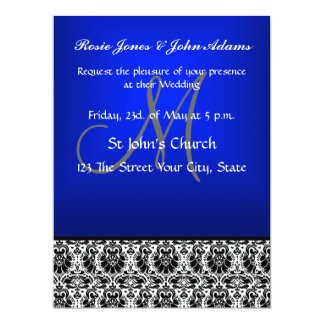 Royal Blue Damask Wedding Invitation and RSVP Announcement