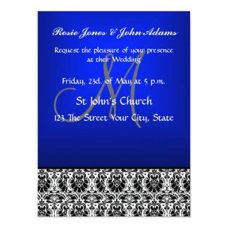 "Royal Blue Damask Wedding Invitation and RSVP 6.5"" X 8.75"" Invitation Card"