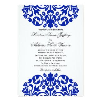 Beautiful Royal Blue Damask Wedding Invitations