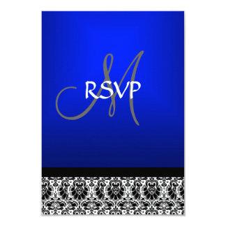 Royal Blue Damask Wedding RSVP Personalized Invite