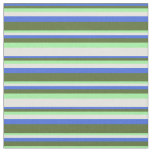 [ Thumbnail: Royal Blue, Dark Olive Green, Green & Light Yellow Fabric ]
