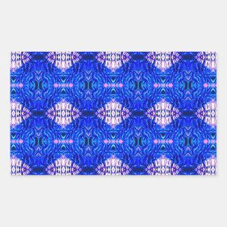 royal blue diamond sand hippie tiedye rug pattern rectangular sticker