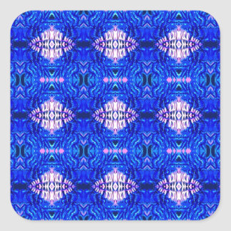 royal blue diamond sand hippie tiedye rug pattern square sticker