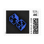 Royal Blue Dice Postage Stamps