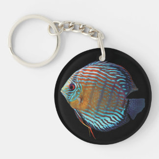 Royal Blue Discus Double-Sided Round Acrylic Keychain