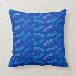 Royal Blue Dragonfly Decorative Pattern Throw Pillow
