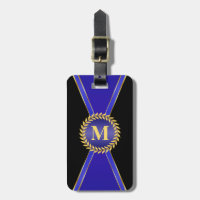 Royal Blue Elegance Monogram Luggage Tag