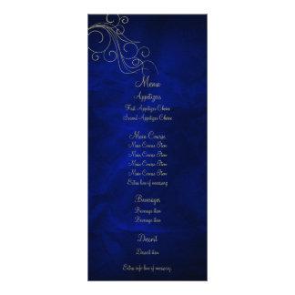Royal Blue Elegant Gold Wedding Menu Rack Card