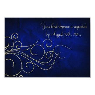 Royal Blue Elegant Gold Wedding RSVP Card