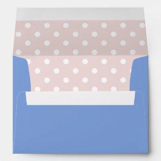 Royal Blue Envelope and Blush Pink Polka Dot Print