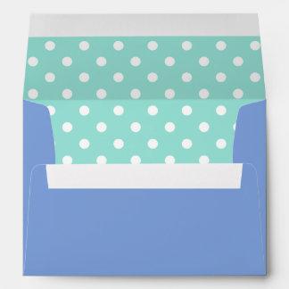 Royal Blue Envelope With Aqua Polka Dot Print