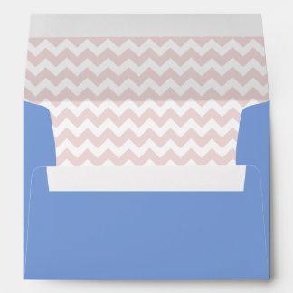 Royal Blue Envelope With Blush Pink Chevron Print