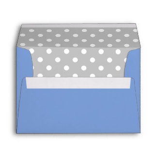 Royal Blue Envelope With Gray Polka Dot Print