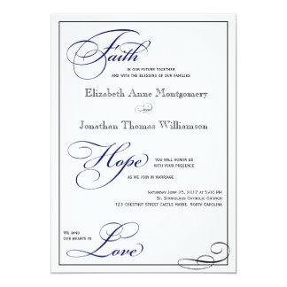 Royal Blue Faith Hope Love Wedding Invitation