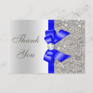 Royal Blue Faux Bow Silver Sequins Thank You