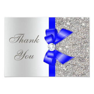Royal Blue Faux Bow Silver Sequins Thank You Card