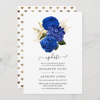 Royal Blue & Gold Foil Wedding Update Invitation