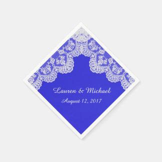 Royal Blue Faux White Lace Border Wedding Paper Napkin